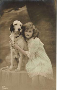 Edwardian Beauty Girl with English Setter Dog Beautiful Old Postcard | eBay