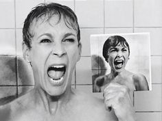 Jamie Lee Curtis gets her acting gene from parents Janet Leigh and Tony Curtis. Leigh is best known for her role in Alfred Hitchcock's 1960 classic Psycho. To promote her new series, Scream Queens,Curtis recreated Leigh's famous shower scene in Psycho Tony Curtis, Jamie Lee Curtis Mom, Jamie Lee Curtis Movies, Jamie Lee Curtis Halloween, Scream Queens, Michael Myers, Alfred Hitchcock, Psycho Shower Scene, Magic Johnson