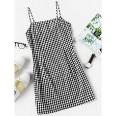 Gingham Print Cami Dress (41 BRL) ❤ liked on Polyvore featuring dresses, black and white, black and white plaid dress, sleeveless sheath dress, sleeveless dress, cami dress and black and white gingham dress