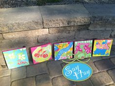Canvas Squares inspired by Lill State of Mind for each different state you have lived in, fave places to visit, etc. Okay, now The Pelican Girls just need canvas, paint and ribbon!