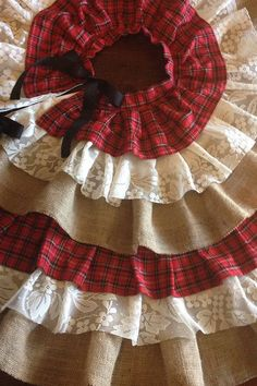 These Upcycled And Beautiful Fabrics Give My Country Tree Skirts So Much Character From The Soft Flannel Vintage Lace To Burlap