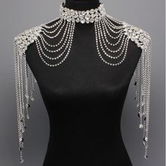 Couture Steampunk GLAMOUR Crystal Shoulder Neck Choker Body Necklace