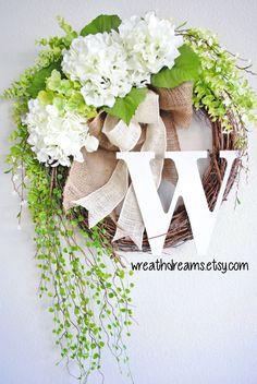 White Hydrangea Monogram Grapevine Wreath with Burlap. Year Round Wreath. Spring Wreath. Summer Wreath. Monogram Wreath. Door Wreath.