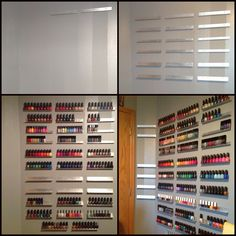 Growing wall of polish. DIY nail polish rack