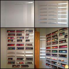 Growing wall of polish.  DIY nail polish rack