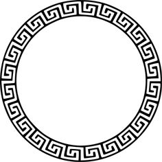 Illustration of Round frame with a meander. vector art, clipart and stock vectors. Greek Pattern, Pattern Art, Abstract Pattern, Spartan Tattoo, Muster Tattoos, Marquesan Tattoos, Les Sentiments, Black And White Illustration, Celtic Designs