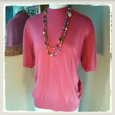 X Large Soft Sag Harbor Coral Short Sleeve Sweater Soft and comfortable acrylic Sag Harbor Top. Excellent condition. Deep coral pink, short sleeved sweater. Dress it up with heels and pearls, or pair it with jeans for a casual relaxed look. DISCOUNTED BUNDLES & SHIPPING! FREE STATEMENT NECKLACE WITH $50 PURCHASE!! Sag Harbor Sweaters Crew & Scoop Necks