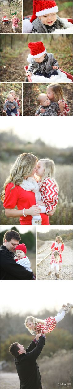 """I like the baby in the red wagon with the """"snow""""... especially being pulled by the older sibling!!  Family Christmas Photo Outfit Ideas. by Sarah C. Photography"""