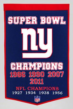 $84.99 from FansEdge - New York Giants Super Bowl XLVI Champions Dynasty Banner - This New York Giants banner features a vibrant team logo and reads Super Bowl Champions for all to see. Perfect for the study, family room or your bedroom. http://www.fansedge.com/New-York-Giants-Super-Bowl-XLVI-Champions-Dynasty-Banner-_-142272857_PD.html?social=pinterest_020712_superbowl