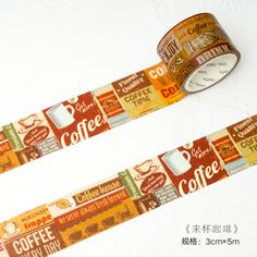 1 Pcs/set Creative Retro Posters Coffee And Newspapers Washi Tape DIY Scrapbooking Sticker Label Masking Tape School Supply