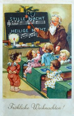 Helping to teach the young angels the Christmas carols Christmas Scenes, Retro Christmas, Christmas Angels, Kids Christmas, Vintage Greeting Cards, Christmas Greeting Cards, Christmas Greetings, Vintage Postcards, Vintage Christmas Images
