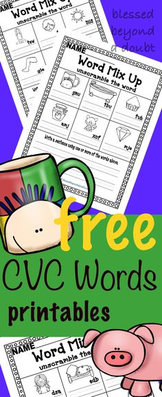 FREE CVC Word Worksheets that are perfect for a classroom setting or homeschoolers. I like to use them in reading stations.