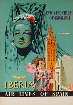 1950s Andalusia Spain vintage travel poster