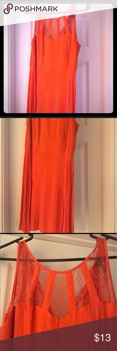 Coral dress with lace Forever 21 brand coral dress, with very cute lace design work. Great condition - perfect for summer and wedding season! Size Large. Forever 21 Dresses