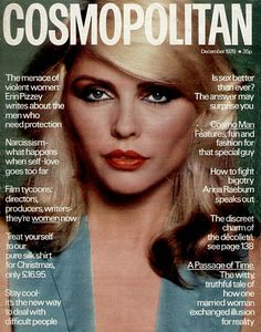 Debbie Harry, singer of the new wave/punk band Blondie, on the cover of Cosmopolitan magazine (December 1978), looking as glam as always with red lips and two-tone hair