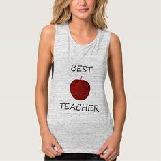 BEST TEACHER APPLE ~ FLOWY MUSCLE TANK TOP Tank Tops