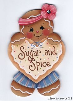 HP GINGERBREAD Sugar and Spice FRIDGE MAGNET #Handpainted