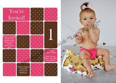 Cake Smash Pink and Brown Photo Invitation