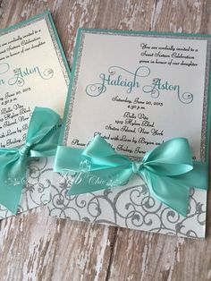 Custom Handmade personalized bling Silver Glitter sweet sixteen 16 Invitation Simple Elegant Babyshower wedding Invitations Sweet Sixteen Teal and Silver Glitter Custom Handmade Invitation Quince Invitations, Glitter Wedding Invitations, Wedding Invitation Envelopes, Sweet 16 Invitations, Handmade Wedding Invitations, Baby Shower Invitations, Print Invitations, Modern Invitations, Wedding Stationery