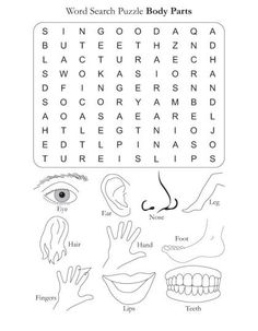 Word Search Puzzle Body Parts. This site has different themed word search puzzles. Free Word Search Puzzles, Kids Word Search, Word Puzzles, Puzzles For Kids, English Worksheets For Kids, English Lessons For Kids, Kids English, Learn English, Spanish Lessons