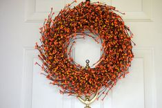 Orange Mix Berry Wreath for Fall   Fall by laurelsbylaurie on Etsy