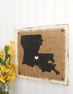 Distressed Wood Signs | LOUISIANA, Burlap distressed wood sign, cottage look, rustic elegance ...