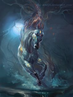 Sivka-Burka by ElXi-Ameyn on deviantART, dude it's Jason's venti horse! Horse Drawings, Cute Drawings, Animal Drawings, Mythological Creatures, Mythical Creatures, Unicorn Pictures, Unicorn Art, Equine Art, Fantasy Artwork