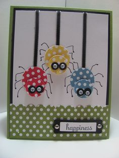 "Cute Little Spiders Card...with goggle eyes...so adorable! SU. The info for this card is under the heading ""Happy Thoughts"" on her blog."