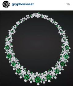 Emerald and diamond necklace by Graff. #gryphonsnest Instagram