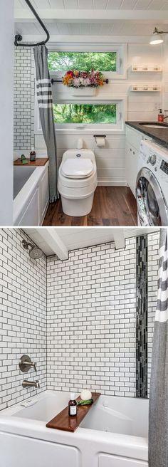 Tiny House Living: The Alpha tiny house bathroom includes a full size...