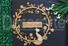 Guirlanda Gatinho MDF Laser Art, Laser Cut Wood, Laser Cutting, Nursery Room Decor, Diy Room Decor, Home Decor, Name Plate Design, Arte Country, Wooden Cutouts