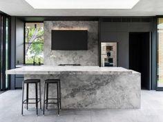 kitchen-design-natural-stone-benchtop-liebherr-zip-tap-gaggenau-premier-kitchens-australia-7 Stone Benchtop Kitchen, Quality Kitchens, Black Cabinets, Old Kitchen, Minimalist Interior, Cool Kitchens, Kitchen Design, New Homes, House Design
