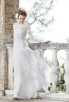 Abito da sposa a maniche lunghe stile bohemien Alberta Ferretti 2016 mod…