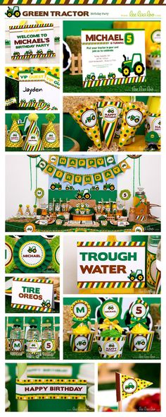 ♥ Green Tractor Birthday Party Theme ♥ Shop Here: https://www.etsy.com/shop/LeeLaaLoo/search?search_query=b111&order=date_desc&view_type=gallery&ref=shop_search ✿ Party Styling: LeeLaaLoo - www.leelaaloo.com ✿ Party Print able Design & Decoration: LeeLaaLoo - www.etsy.com/shop/leelaaloo