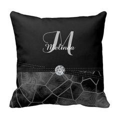 #Black Gray #Stain #Glass Diamond Print   Personalize #Pillow #zazzlebesties #zazzle.com #Designsbydonnasiggy