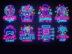 Find Big Collection Video Games Logos Vector stock images in HD and millions of other royalty-free stock photos, illustrations and vectors in the Shutterstock collection. Thousands of new, high-quality pictures added every day. Gfx Design, Neon Design, Graphic Design, Game Logo Design, Video Game Logos, 80s Video Games, Video Game Art, News Logo, New Retro Wave