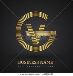 Letter GV or VG linked logo design circle G shape. Elegant gold colored letter symbol. Vector logo design template elements for company identity. - stock vector
