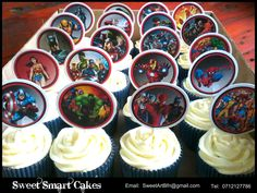 Marvel cupcakes with Marvel cupcake pix  (Bloemfontein, ZA)  For more info or orders, email SweetArtBfn@gmail.com, call 0712127786 or WhatsApp:  0646446495