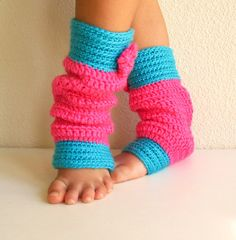 9mo-12mo- 18mo- 24 month Hot Pink and Turquoise Crochet Leg warmers for Baby Girl by YayaHandicraft