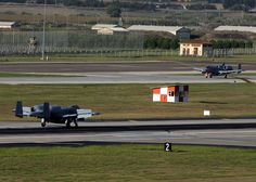Two A-10C Thunderbolt II attack aircraft taxi down the flight line after landing at Incirlik Air Base, Turkey, Oct. 15, 2015. The aircraft are deployed to Turkey in support of the Coalition effort against ISIL and Operation Inherent Resolve. (U.S. Air Force photo by Airman 1st Class Daniel Lile/Released)