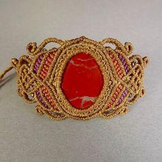 Macrame Bracelet, Red Jasper Bracelet, Boho Bracelet, Micro Macrame,... (€75) ❤ liked on Polyvore featuring jewelry, bracelets, tribal jewellery, macrame bracelet, boho chic jewelry, braided bracelet and bohemian style jewelry