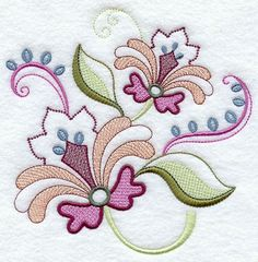 VINTAGE JACOBEAN FLOWER3  Machine Embroidered by AzEmbroideryBarn, $6.50