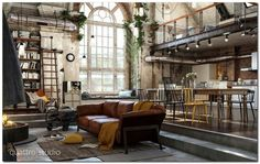 Industrial Bedroom Interior (15)