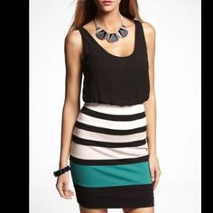 EXPRESS | Color Block 2-in-1 Dress Great for going out. Worn twice. Small. Stripes are black, white, tan, and green. Express Dresses Mini