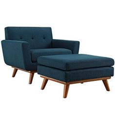 modway engage arm chair with ottoman azure