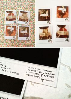 How to turn a Polaroid into a postcard -- so cute for thank you notes and other custom stationery! By Brit - Creative and cool idea. Photo Projects, Diy Projects, Display Family Photos, Classic Photography, Paper Crafts, Diy Crafts, Custom Stationery, Holiday Postcards, Diy Photo