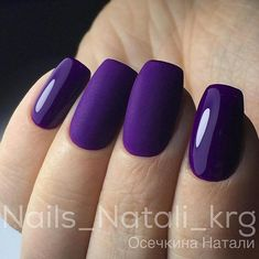 Short square nails with purple gel polish and matte top coat. Beautiful nails by ✨Ugly Duckling Nails page is dedicated to promoting quality, inspirational nails created by International Nail Artists Fancy Nails, Cute Nails, Pretty Nails, Nail Swag, Fabulous Nails, Gorgeous Nails, Matte Purple Nails, Black Nails, Hair And Nails