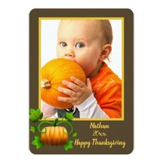 Thanksgiving Frame or Card with Pumpkin - thanksgiving invitations holiday cyo diy happy thanksgiving invitation card