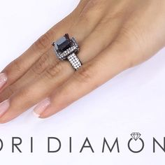 5.68 Carat Princess Cut Natural Black Diamond Engagement Ring 18k Black Gold - Style # BDR-248 - $5,880 #ring #engagement #rings #jewelry #bridal #diamond #diamonds #blackdiamond #blackdiamonds #blackgold #lioridiamonds