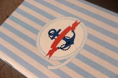 Navy journal  navy blue journal with anchor strpied by GuBoArtBook,